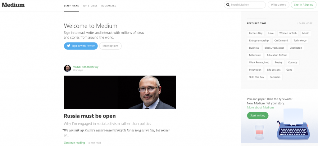 Medium's front page is easy to read and navigate.