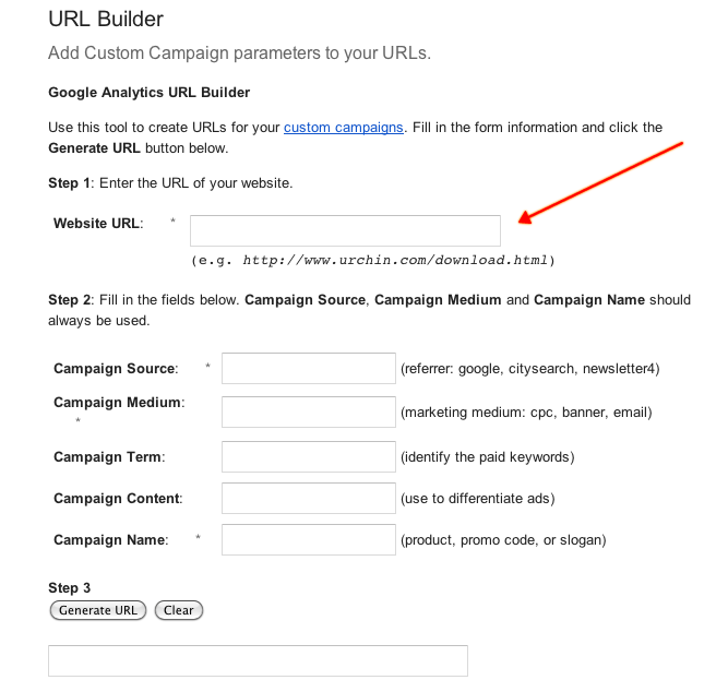 Google Analytics Custom URL Builder
